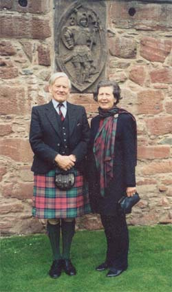 Lord and Lady Crawford in the Pleasance at Edzell Castle on the occasion of the celebration of the 600th anniversary of the Earldom of Crawford.  (Photo by Marty Thurmond, 1998).