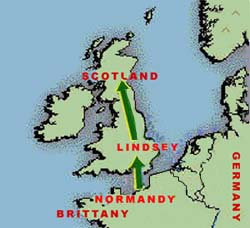 Migration of Lindsay ancestors via the County of Flanders (AD 900), and via the administrative area of Lindsay in Lincolnshire (aft. 1066), to Scotland (bef. 1116).